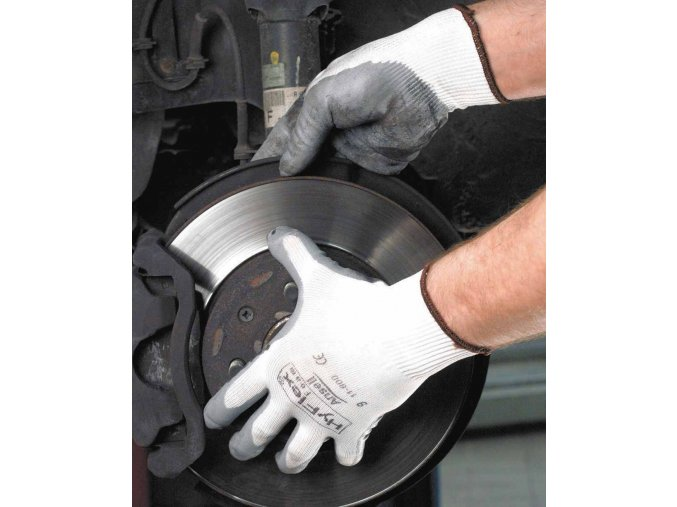 Pracovní rukavice bezešvé antistatické máčené v nitrilu ANSELL HYFLEX FOAM bílá-šedá