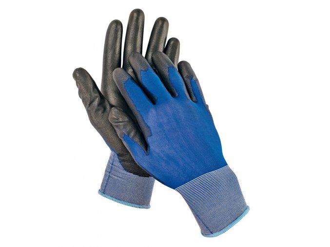 Pracovní rukavice ultratenký nylonový úplet máčené v polyuretanu SMEW modrá-černá