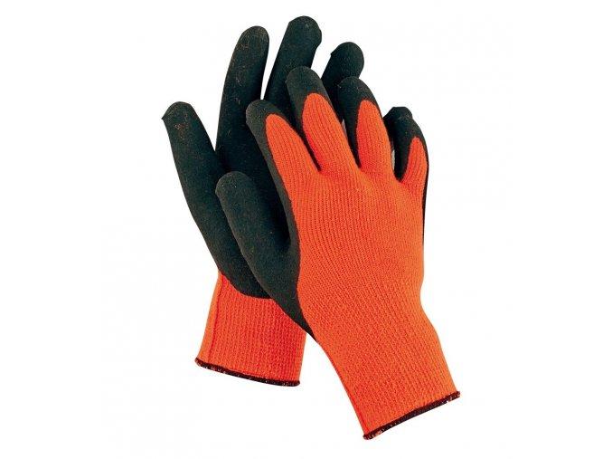 Pracovní rukavice pletené bezešvé nylonové PALAWAN ORANGE oranžová-černá