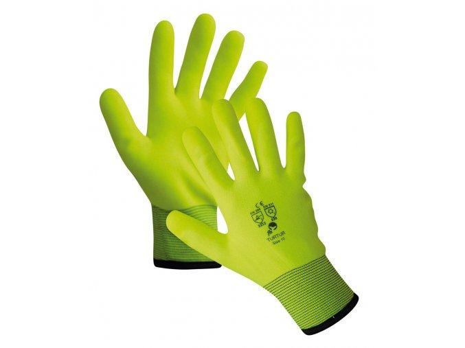 Pracovní rukavice zateplené voděodpudivé pletené nylonové TURTUR žlutá