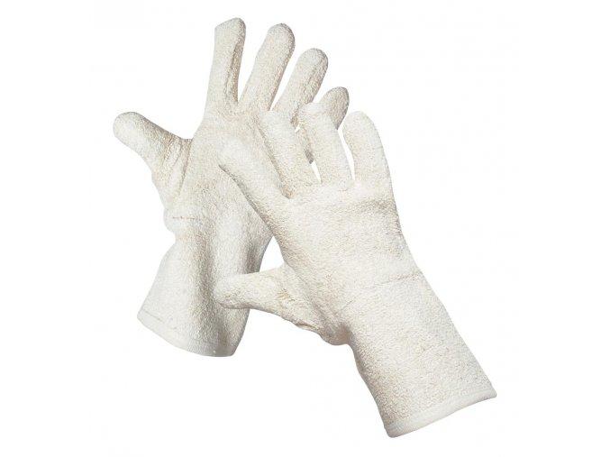 Pracovní rukavice šité s manžetou froté bavlna LAPWING délka 35 cm bílá