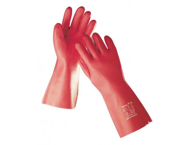 Pracovní rukavice máčené v PVC STANDARD 35 cm červená