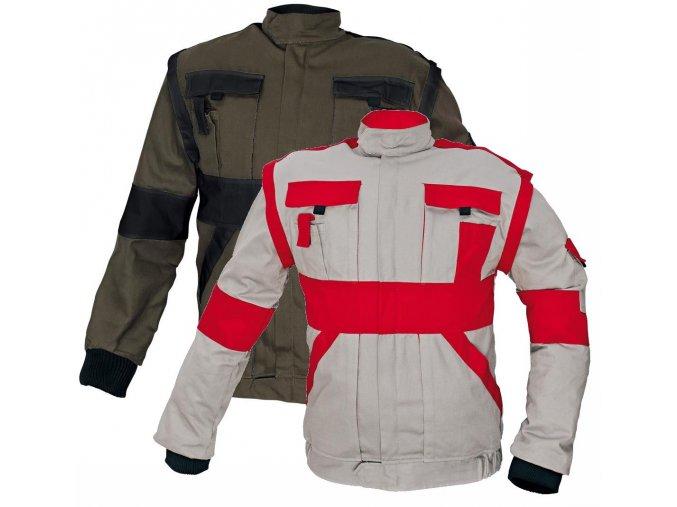 Montérková bunda MAX 2 v 1 šedá-červená