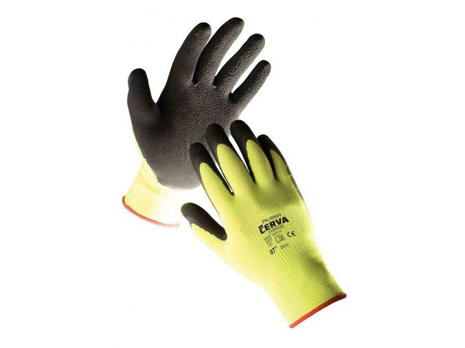 Pracovní rukavice pletené bezešvé nylonové PALAWAN žlutá-černá