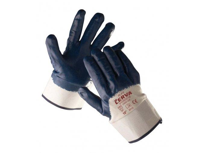 Pracovní rukavice šité máčené v nitrilu RUFF
