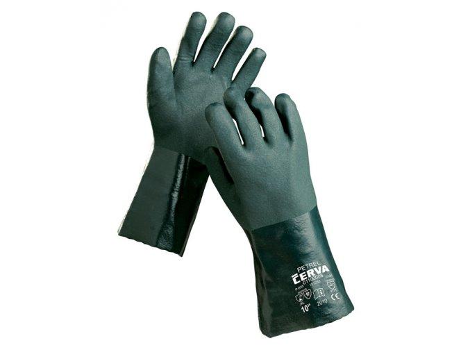 Pracovní rukavice šité máčené v PVC PETREL
