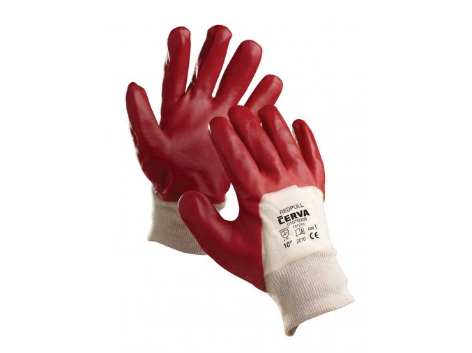 Pracovní rukavice šité máčené v PVC REDPOL