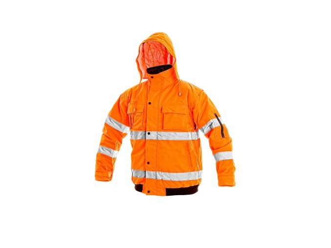 Reflexní bunda zateplená nepromokavá LEEDS 2 v 1 oranžová