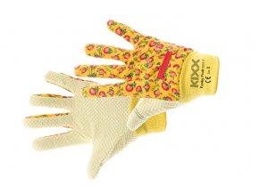 Pracovní rukavice bavlněné s PVC terčíky FUNKY FRUIT oranžová