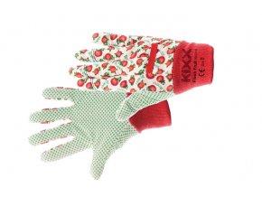 Pracovní rukavice bavlněné s PVC terčíky FRESH FRUIT červená