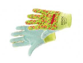 Pracovní rukavice bavlněné s PVC terčíky FAST FRUIT zelená