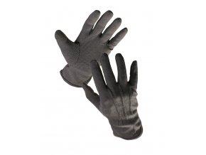 Pracovní rukavice textilní šité povrstvené s PVC terčíky BUSTARD černá