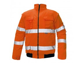Reflexní bunda zateplená nepromokavá CLOVELLY PILOT 2 v 1 oranžová