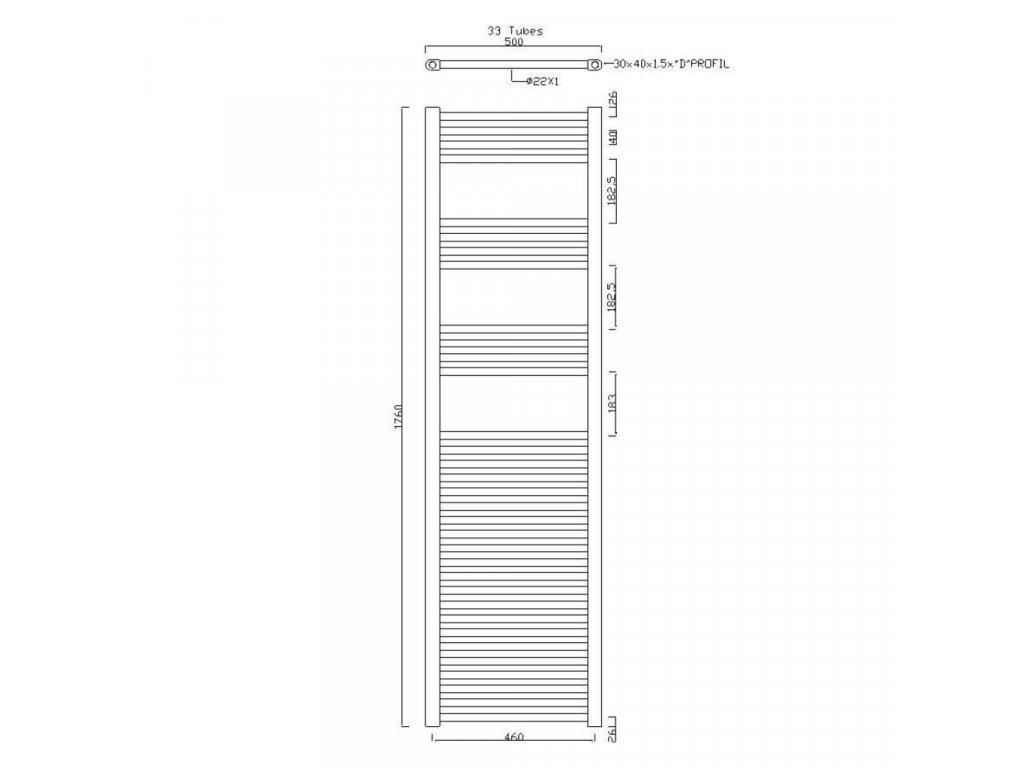 SAPHO - ALYA otopné těleso rovné 500x1760mm, 475W, chrom (1120-08)