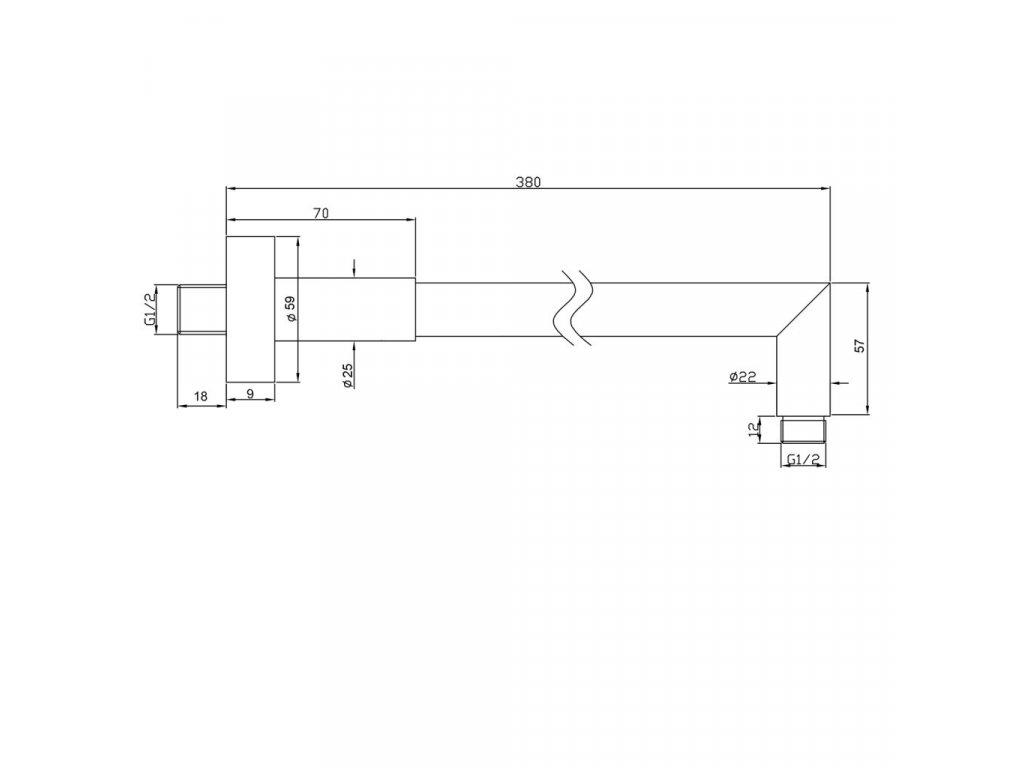 SAPHO - Sprchové ramínko 380mm, chrom 1205-16