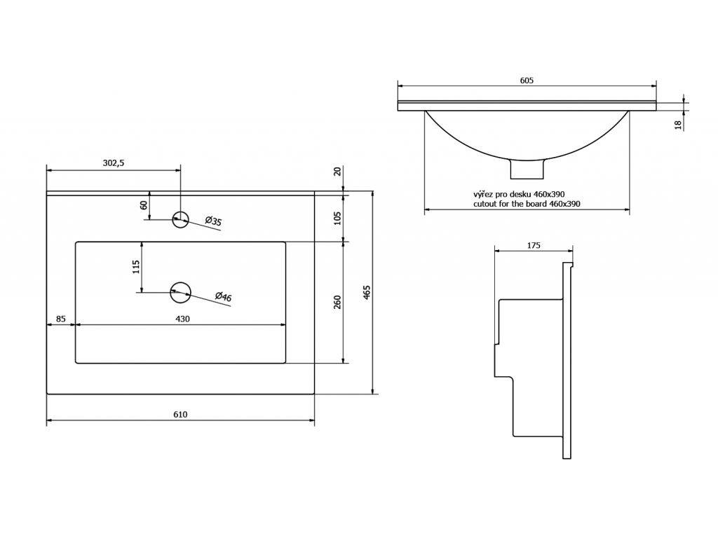 SAPHO - SLIM keramické umyvadlo 60x46cm, nábytkové 1601-60
