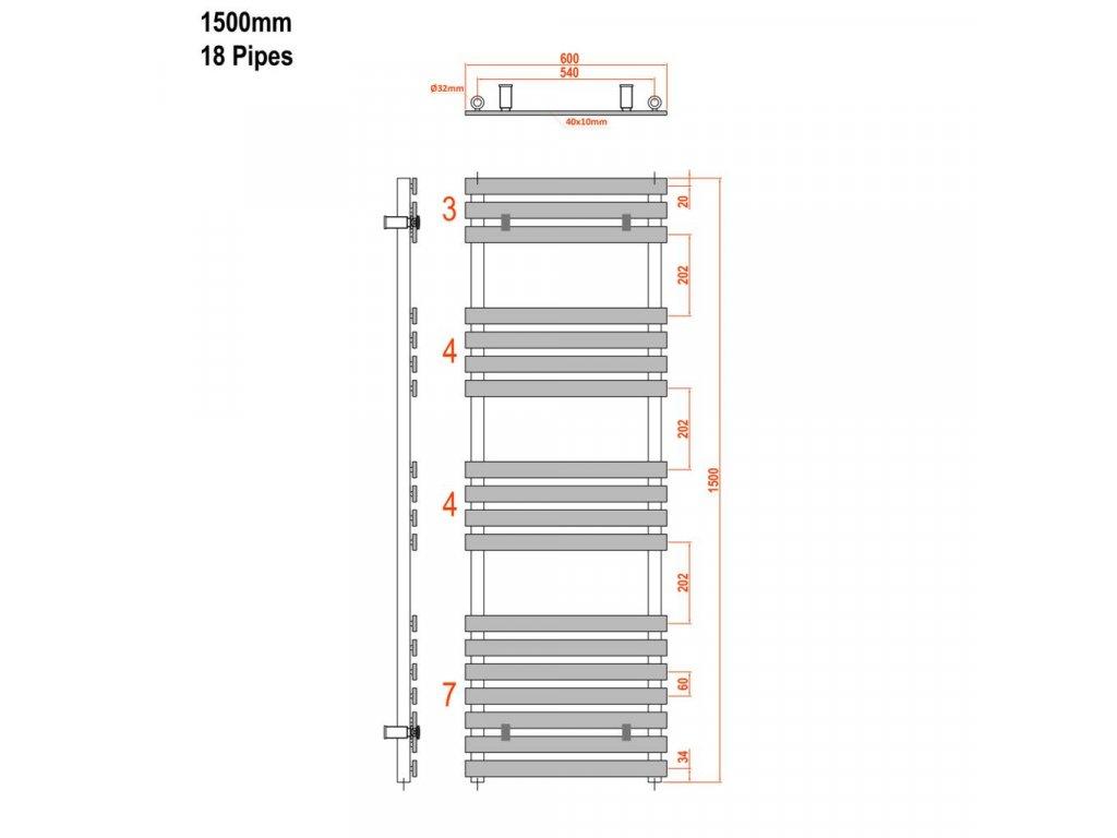 SAPHO - JALOUSI otopné těleso 600x1500mm, 900W, bílá 1801-09