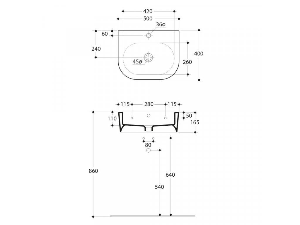KERASAN - FLO keramické umyvadlo 50x40cm 314101