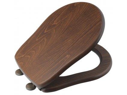 KERASAN - RETRO WC sedátko, dřevo masiv, ořech/bronz 109340