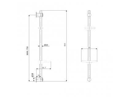 SAPHO - Posuvný držák sprchy s mýdlenkou, 810mm, chrom 1206-06