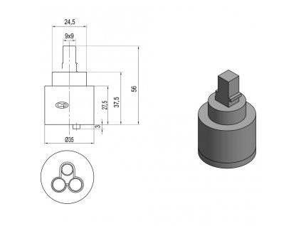 SAPHO - Směšovací kartuše 35mm, nízká 521601