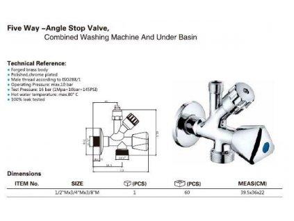 AQUALINE - Kombinovaný ventil 1/2'x3/4'x3/8', chrom (5309)
