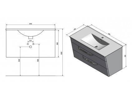 SAPHO - KALI umyvadlová skříňka 89x50x45cm, bílá (56091) KA090-3030