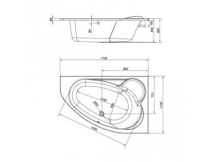 CERSANIT - VANA KALIOPE PRAVÁ 170X110 cm (S301-115)