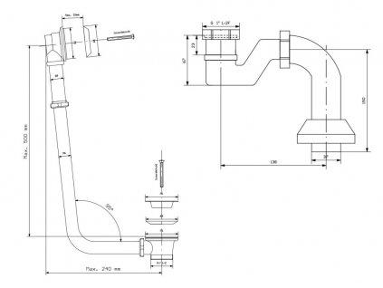 POLYSAN - CHARLESTON vanová souprava pro vnější instalaci, řetízek, včetně sifonu, chrom (71687)