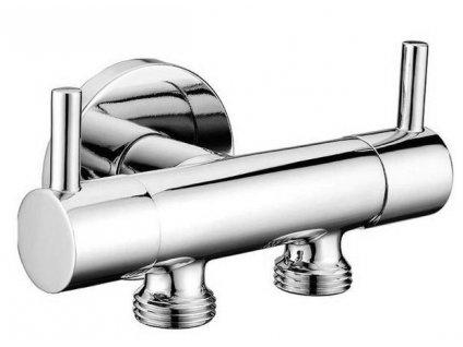 SAPHO - Dvojventil pro napojení bidetové sprchy a WC, chrom 1209-04-B