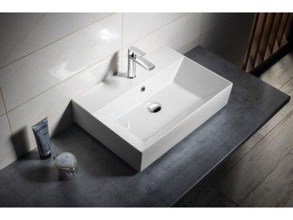 AQUALINE - SISTEMA keramické umyvadlo 60x42cm, bílá 10SF50060