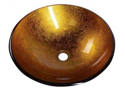 SAPHO - AGO skleněné umyvadlo průměr 42 cm, zlatě oranžová 2501-19