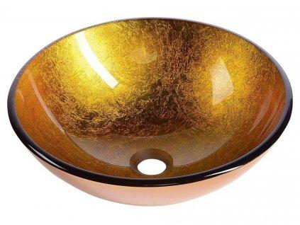 SAPHO - AGO skleněné umyvadlo průměr 42 cm, zlatě oranžová (2501-19)