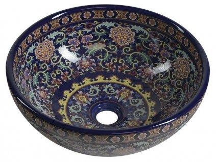 SAPHO - PRIORI keramické umyvadlo, průměr 41 cm, 15 cm, fialová s ornamenty PI022