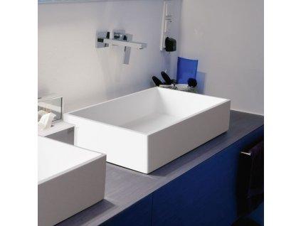 Aquatek - CUBE umyvadlo z litého mramoru 57,5x 37,5 cm, bílé CUBE