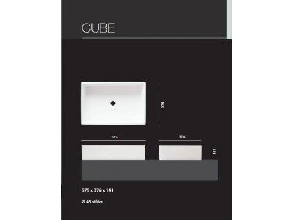 Aquatek - CUBE umyvadlo z litého mramoru 57,5x 37,5 cm, bílé (CUBE)