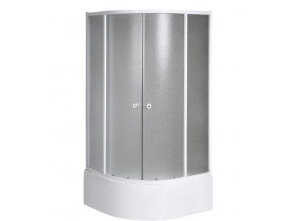 AQUALINE - ARLEN čtvrtkruhová sprchová zástěna 900x900x1500 mm, sklo BRICK (BTR903)