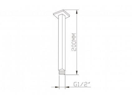 SAPHO - Sprchové stropní ramínko, hranaté, 200mm, chrom 1205-07