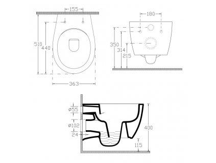 ISVEA - SENTIMENTI závěsná WC mísa, Rimless, 51x36 cm, bílá 10AR02007