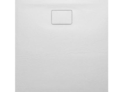 SAPHO - ACORA vanička z litého mramoru, čtverec 90x90x3,5cm, bílá, dekor kámen (AC002)