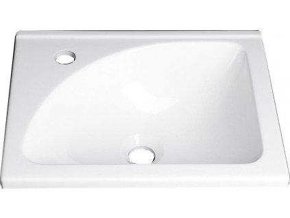 AQUALINE - Umyvadlo 40x32 cm, litý mramor, bílá (LM408)