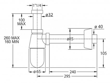 BONOMINI - THERMOTRAP umyvadlový sifon, 1'1/4, odpad 32 mm, ABS/chrom 0570EC25K7