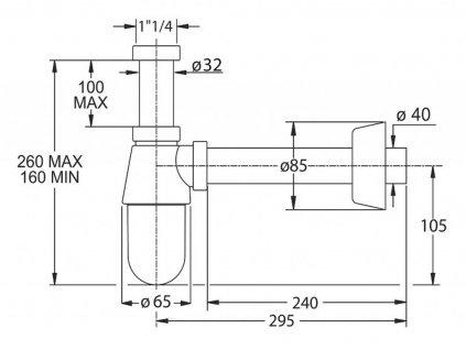 BONOMINI - THERMOTRAP umyvadlový sifon, 1'1/4, odpad 40 mm, ABS/chrom 0570EC23K7