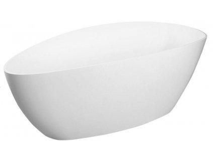 GELCO - ELIPSIE vana 1570x700x560mm, litý mramor, objem 260l, bílá lesk GVEL1570