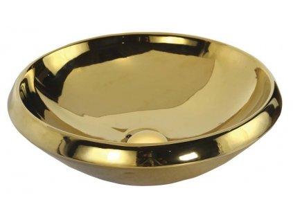 SAPHO - MINIMAL umyvadlo na desku kulaté průměr 45x13,5 cm, zlatá MN045-AK00