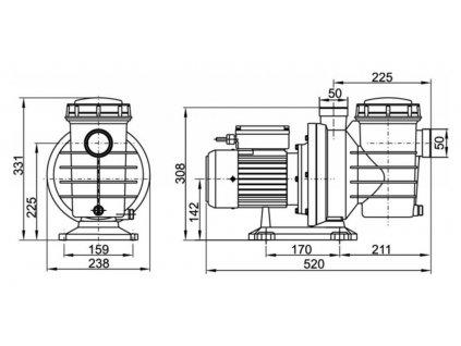 Lorema - Čerpadlo CAP550 s předfiltrem, 550 W, 230 V/50 Hz, délka kabelu 1,5 m 150203