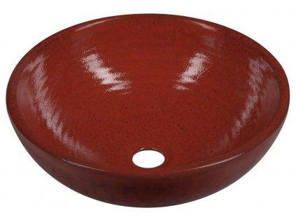 SAPHO - ATTILA keramické umyvadlo, průměr 42,5 cm, tomatová červeň DK003