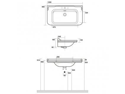 KERASAN - WALDORF keramické umyvadlo 120x55cm (4144K1)