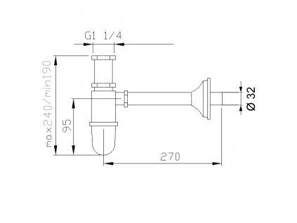Reitano Rubinetteria - RETRO umyvadlový sifon 1'1/4, odpad 32 mm, chrom 9591