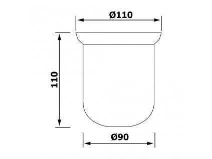 SAPHO - Miska na WC štětku pro X-ROUND/Trend-i/X-STEEL, XS301 mléčné sklo NDX310